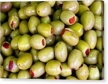 Canvas Print featuring the photograph Green Olives by Leslie Leda