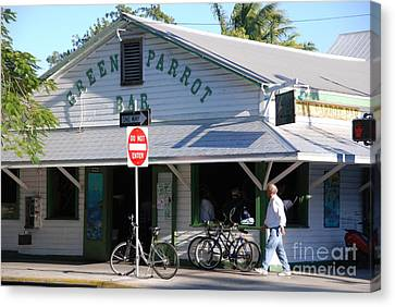 Green Parrot Bar In Key West Canvas Print by Susanne Van Hulst