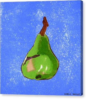 Green Pear On Blue Canvas Print by Marla Saville