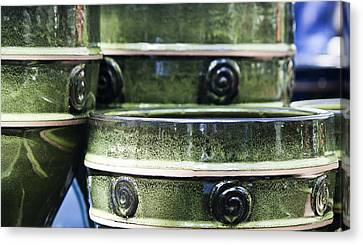 Ceramic Glazes Canvas Print - Green Planter Border by Teresa Mucha