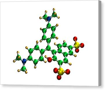 Green S Food Colouring Molecule Canvas Print by Dr Mark J. Winter