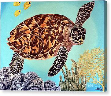 Green Seaturtle 1 Canvas Print by Nanci Fielder