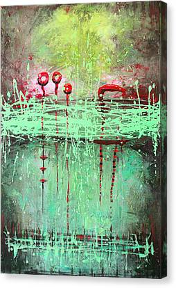 Canvas Print featuring the painting Green Splashes by Lolita Bronzini