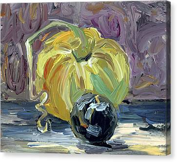 Green Tomato And Plum Canvas Print by Scott Bennett
