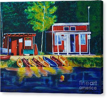 Green Valley Lake Boat House Canvas Print