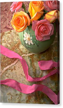Green Vase With Roses Canvas Print