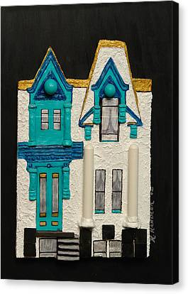 Green Victorian Mansion-montreal Canvas Print