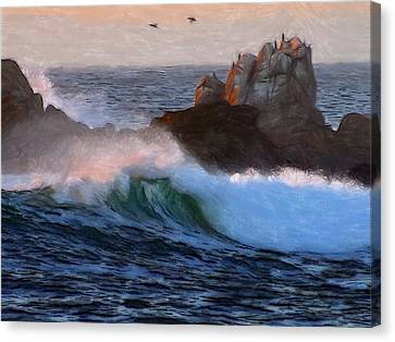 Green Waves Pastel Canvas Print by Steve K