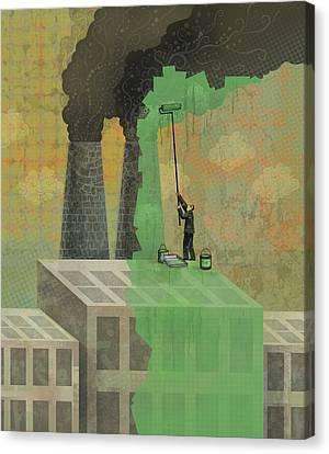 Greenwashing Canvas Print by Dennis Wunsch