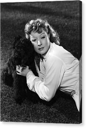 Greer Garson Posing With French Poodle Canvas Print
