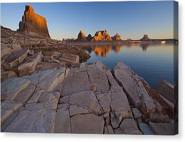 Gregory Butte Reflected In Last Chance Canvas Print