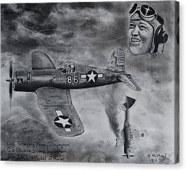 Gregory Pappy Boyington Canvas Print by Brian Hustead