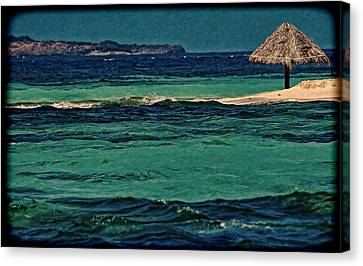 Canvas Print featuring the photograph Grenadines Umbrella by Don Schwartz