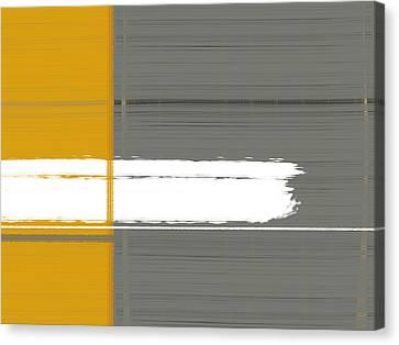Grey And Yellow Canvas Print by Naxart Studio