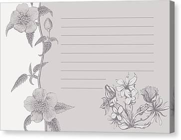 Grey Floral Card Canvas Print by Dana Vogel