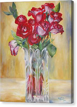 Canvas Print featuring the painting Grey Roses For November by Nadine Dennis