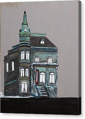 Grey Victorian Mansion-montreal Canvas Print