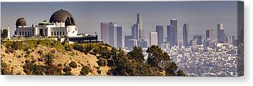 Griffith And Los Angeles Canvas Print by Ricky Barnard