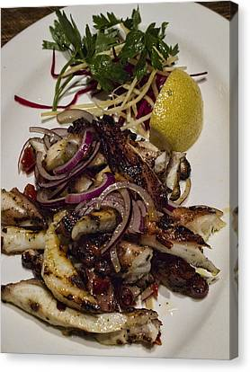 Griiled Fresh Greek Octopus Canvas Print by David Smith