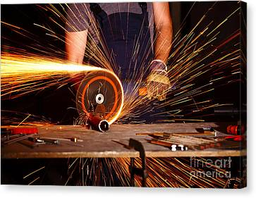 Grinder In Action Canvas Print by Gualtiero Boffi