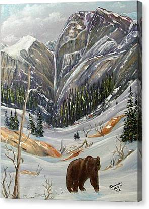 Canvas Print featuring the painting Grizz by Al  Johannessen