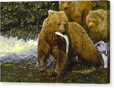 Grizzly Bear And Cubs Canvas Print