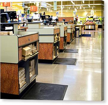 Grocery Store Checkout Counters Canvas Print