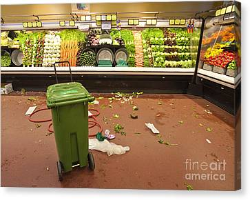 Grocery Store Produce Aisle After Hours Canvas Print