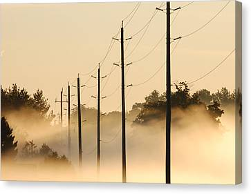 Ground Fog With High Wires Canvas Print by Bruce Kenny