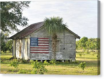 Grove Shack With Flag Canvas Print by Bradford Martin
