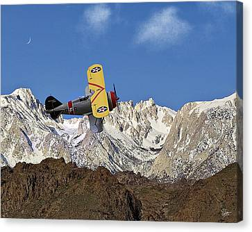 F3f Canvas Print - Grummon F3f Navy Fighter Over Mount Whitney by Endre Balogh