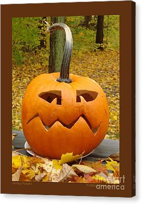 Grumpy Pumpkin Canvas Print by Patricia Overmoyer