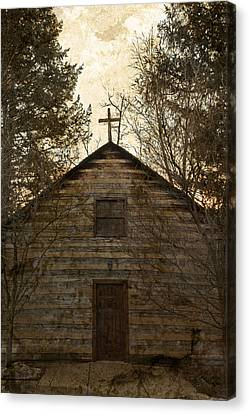 Grungy Hand Hewn Log Chapel Canvas Print by John Stephens