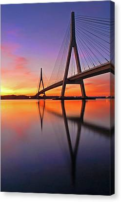 Guadiana Bridge Over Sunset Canvas Print by Juampiter