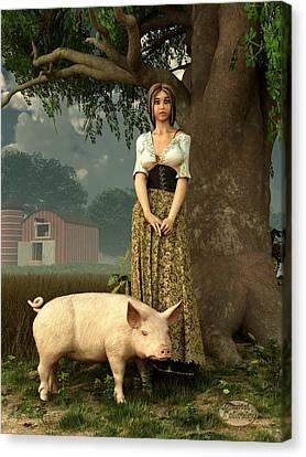 Guard Pig Canvas Print by Daniel Eskridge