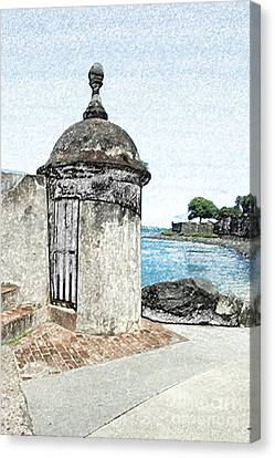 Guard Post Castillo San Felipe Del Morro San Juan Puerto Rico Colored Pencil Canvas Print