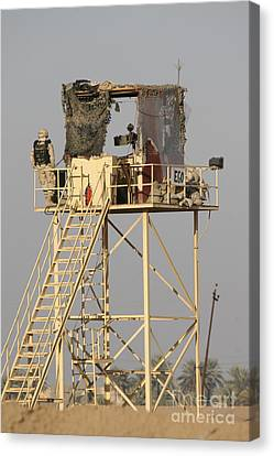 Guard Tower Manned By Georgian Soldiers Canvas Print by Terry Moore