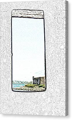 Guard Tower View Castillo San Felipe Del Morro San Juan Puerto Rico Colored Pencil Canvas Print by Shawn O'Brien