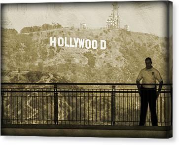 Guarding Hollywood Canvas Print by Ricky Barnard