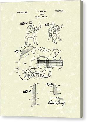 Guitar 1960 Patent Art Canvas Print by Prior Art Design