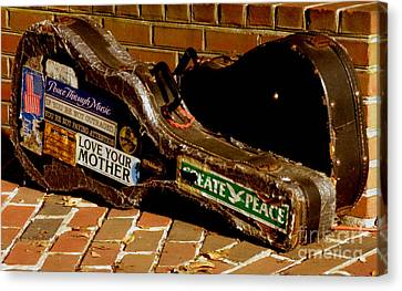 Canvas Print featuring the photograph Guitar Case Messages by Lainie Wrightson