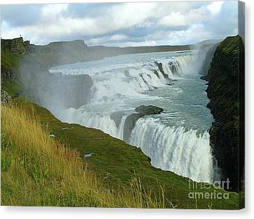 Gullfoss Waterfalls  Iceland Canvas Print by Louise Peardon