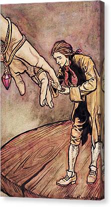 Gulliver In Brobdingnag Kissing The Hand Of The Queen Canvas Print by Arthur Rackham
