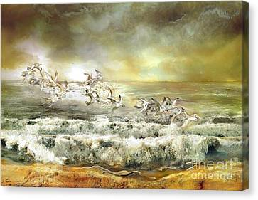 Gulls On The Sea Canvas Print by Anne Weirich