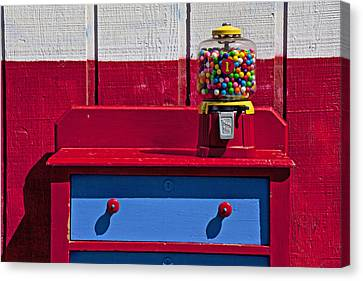 Gum Ball Machine On Red Desk Canvas Print by Garry Gay