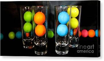 Gumballs In Shot Glasses Canvas Print