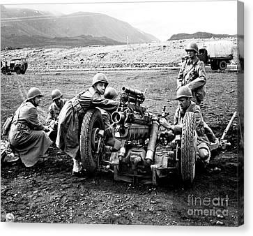Gun Crew Prepares To Fire A 37mm Canvas Print by Stocktrek Images