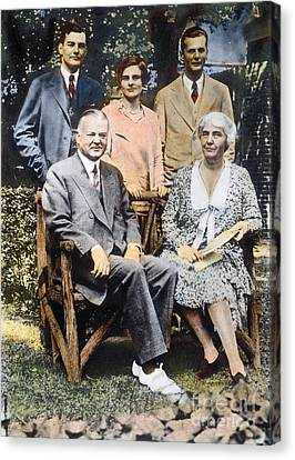 H. Hoover And Family Canvas Print by Granger