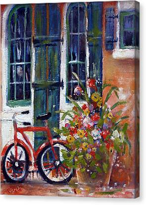 Canvas Print featuring the painting Habersham Bike Shop by Gertrude Palmer