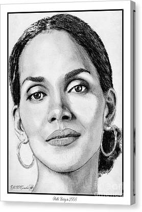 Canvas Print featuring the drawing Halle Berry In 2008 by J McCombie